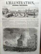 L' ILLUSTRATION 1854 N 574 INCENDIE DU PARLEMENT DU CANADA, A QUEBEC