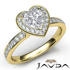 Halo Pre-Set Heart Cut Diamond Engagement Ring GIA H VS2 18k Yellow Gold 0.95Ct