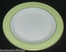 "Pyrex Lime Green Band Milk Glass Dinner Plate 10"" Gold Trim FREE US Ship"