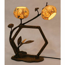 Oriental Hexagonal Traditional Paper Ball Shade Double Table Brown Touch Lamp