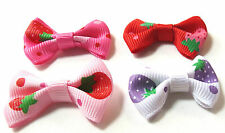 """12, 24 or 36 Stawberry mini Grosgrain Ribbon Bow Appliques 1.5"""" Fast US Shipping"""