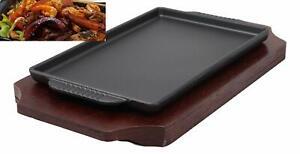 "Cast Iron Sizzling Fajita Steak Stir Fry Skillet Pan Plate & Wood Base Set 9.25"""