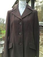 Laura Ashley Wool Blend Chocolate Brown Ladies Long Coat Size 14. Fabulous !!!!!