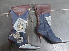 Karen Miillen Leather & Denim Mid Calf Boots Size UK 5 EU 38 Western Line Dance