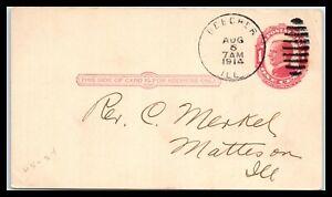 1914 US Postal Card - Beecher, Illinois to Matteson, Illinois T3