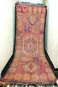 Moroccan Vintage Rug Handmade 8'x3' Wool Boujaad Runner Berber Tribal Carpet