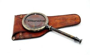 "Antique 10"" MAGNIFYING GLASS Maritime With Leather Case Handmade Vintage Gift"