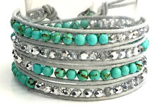 Handcrafted Gray Leather Wrap Crystal and Turquoise Bead Bracelet - Gift Boxed