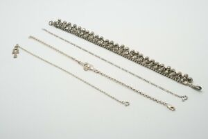 LOT of 4 Sterling Silver Chain Anklets, Claddagh, Figaro, Dangles, 38.3g