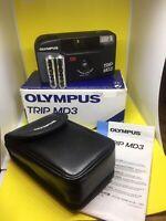 Boxed Olympus trip MD 3 Point & Shoot Film Camera & Case, 34mm Lens Lomo Retro
