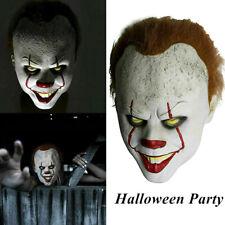 LED Halloween Scary Clown Mask Pennywise Horror Joker Lifelike Cosplay Cost Pn