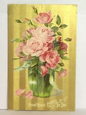 PostCard Many Happy Returns Of The Day Pink Floral Posted 10-25-1909 Vintage