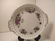 "ROYAL ALBERT ENG CHINA FLOWER OF MONTH CAKE PLATE 10"" DIA  ""FEBRUARY "" PRE OWN"