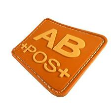 AB POS AOR1 blood type 3D PVC rubber airsoft army military parche hook patch