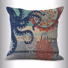 US SELLER- throw cushion marine nautical ocean sea life octopus cushion cover