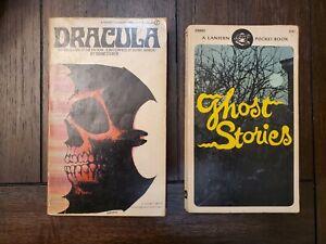 Lot 2 Vtg Books Ghost Stories & Dracula Bram Stoker 1st Edition Halloween Decor