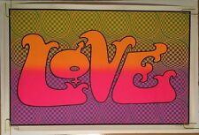 Love Checks Vintage Black Light Poster Psychedelic 1970's Pin-up Retro Ephemera