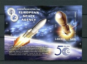 Liberia 2016 MNH ESA European Space Agency 50th Anniv 1v S/S Ariane 1 Stamps