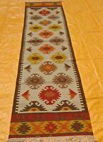 Hand Woven Wool Rug Runner Kilim Dhurrie Persian Oriental Area Rug 2.6'X10' ft