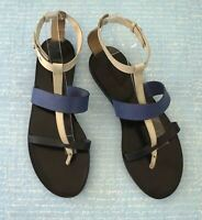 VINCE 8.5 Strappy Black White Blue Leather Thong Flats Sandals