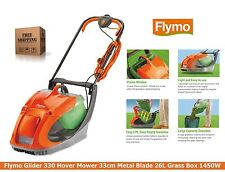 Flymo Glider 330 Electric Hover Lawnmower 33cm Metal Blade 26L Grass Box 1450W