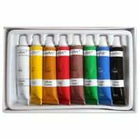 8x COLOURED OIL PAINTS SET Easy Squeeze Artist Craft Tubes Painting Kit