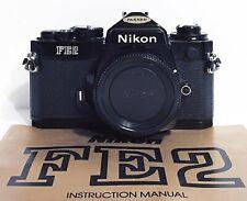 MINT NIKON FE2 35mm Chrome Camera Body. Fully Tested New Mirror Foam. w/ Manual