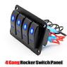 4 Gang Rocker Switch Panel LED Light For Car Marine Boat RV Waterproof 12V 24V