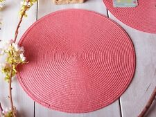 Set of 6 IZA PEARL COLLECTION 'Garden Party Cha Cha' CORAL PINK WOVEN PLACEMATS