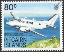 BEECHCRAFT QUEEN AIR (Photo Mission) Aircraft Mint Stamp (1989 Pitcairn Islands)