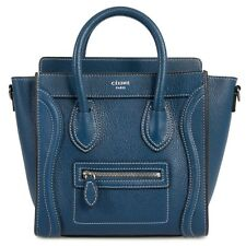 Celine Nano Luggage Navy Calfskin Leather Bag