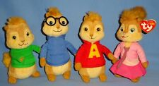 Ty Plush Beanie Babies Alvin and the Chipmunks-Alvin-Simon-Brittany-Theodore-LOT