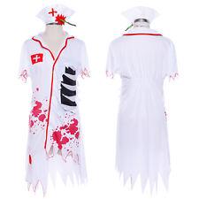 Adult Bloody Nurse Womens Ladies Halloween Fancy Dress Costume Outfit 8 10 12