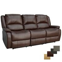 "RecPro Charles 80"" Triple RV Zero Wall Recliner Sofa with Drop Console Mahogany"