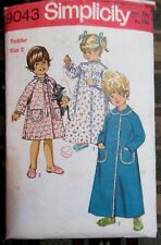 SIMPLICITY SEWING PATTERN No. 9043 toddlers size 2 dressing gown, nighty vintage