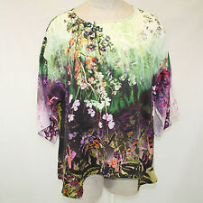 NEW NWT Citron Clothing Butterfly & Flowers 100% Silk Fukure Tunic Blouse 1X