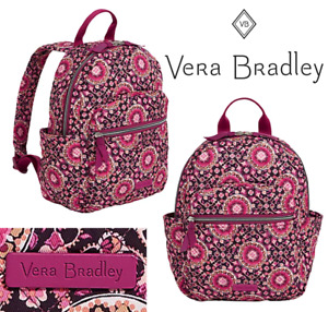 New Vera Bradley Raspberry Medallion Iconic Small Backpack 9 x 12 x 4.75 in NWT