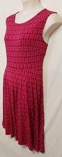 Size XL 16 JACQUI E sleeveless fit flare dress floral hot pink pleats boat neck