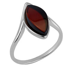 925 Solid Pure Sterling Silver Red Baltic Amber Marquise Ring