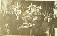 WW1 Real Photo rare image Postcard huge group of soldiers christmas celebration