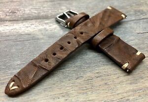 Brown Leather Watch Strap, Irregular pattern 19mm, 20mm Mens wrist watch band