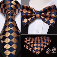 Mens Ties Pre-tied Bow tie Set Blue Bronze Paisley Silk Formal Barry Wang USA