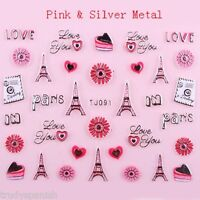 Valentines Nail Art Stickers Decals Paris Hearts Bows Metallic Silver Gold (91)