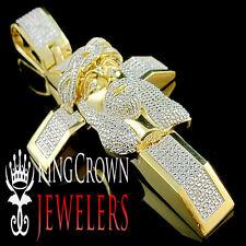 Genuine Diamond Yellow Gold Finish Cross Jesus Head 3.5 Inch Pendant Charm 1/4ct