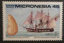1990 Scott 111 Micronesia British Whale Ship Sussex 1843 one new 45 cent at FV