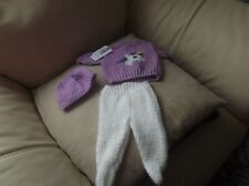 HAND KNITTED DOLL'S CLOTHES  SWEATER, HAT & LEGGINGS - UNICORN- BABYBORN