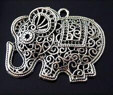 1 Large Filigree Tibetan Silver Animal Lucky Elephant Charm Pendant 45mm (TSC32)