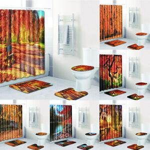 Autumn Shower Curtain Forest Tree Leaves Romantic Fall Season Bath Mat Pad Rug