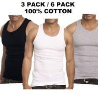 3-6 Packs Mens 100% Cotton Tank Top A-Shirt Wife-Beater Undershirt Ribbed Black