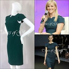 £1.3K NEW Roland Mouret Scirocco Green Wool Cocktail Short Evening Dress Sz UK8